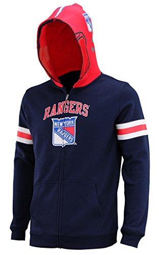 (Outerstuff NHL Big Boys Youth (8-18) Full Zip Helmet Masked Hoodie, New York Rangers, Medium (10/12))