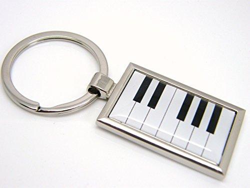 (Chrome Plated Piano Keys Keyboard Keychain)