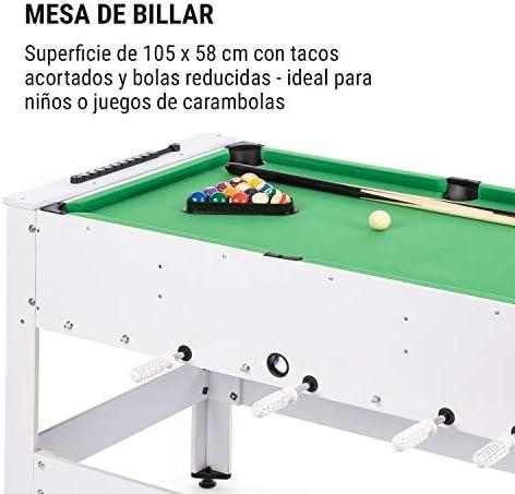 Klarfit Spin 2 en 1 mesa de juegos con billar y furbolín, mesa de billar de 105 x 58 cm / revestimiento en verde, futbolín, incluye accesorios de juego, mesa giratoria para