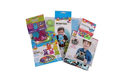 Creative Hands Arts and Crafts for Kids - Monster Bundle Gift Set- 5 Items: Monster Making Kit, Monster Pixel Art Kit, Sparkle Hug Monster Kit, Googly Eyes, Mini Monster Mosaic Craft Set ()