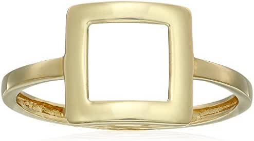 14k Yellow Gold Square Fashion Ring, Size 7