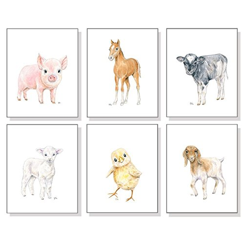 Farm Nursery Art Prints Set of 6, Baby Animal Watercolors, Kids Room Wall Decor, Barn Lamb Chick Pig Horse Cow Goat