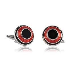 Red & Black Dome Enamel Cufflinks by Cuff-Daddy
