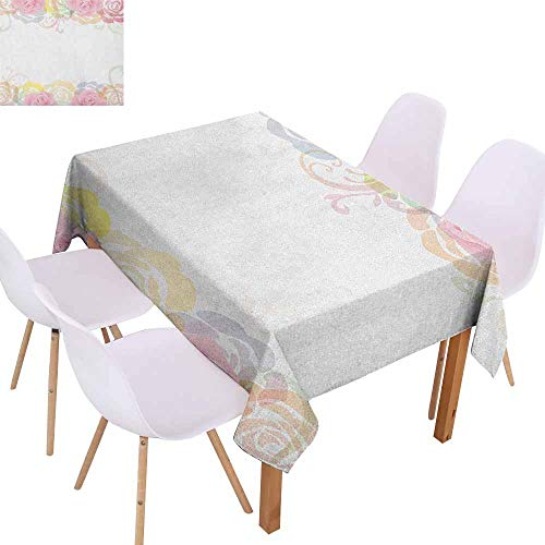 (Rectangular Tablecloth Rose Tender Graceful Spring Themed Borders Floral Frame with Abstract Silhouette of Roses Washable Tablecloth W40 xL60 Multicolor)