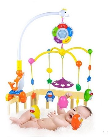 Baby Boy & Girl Bedding Crib Musical Mobile with Hanging Rotating Soft Colorful Plush Dolls Horse Adorable Characters Electric Music Box 12