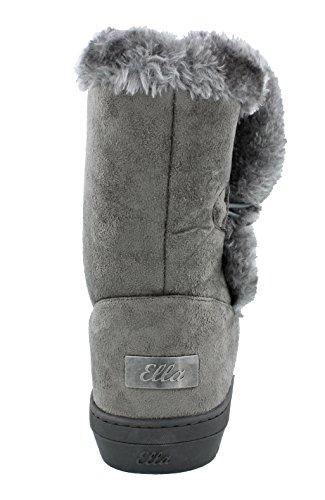 Women's Boots Ella Fur Faux Warm Low Grey Lined Nina Sheepskin Look qPqrgx