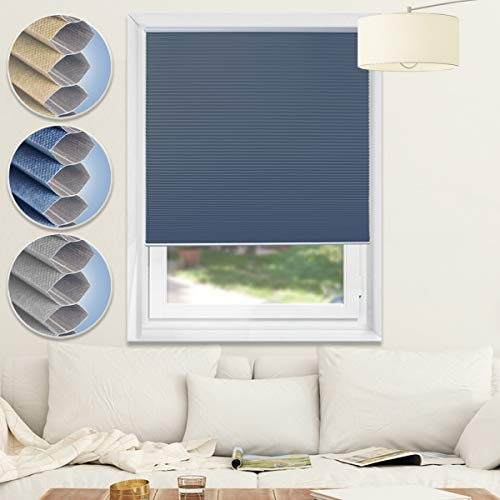 (Window Shades Cellular Cordless Blinds Blackout Blinds Honeycomb Shades for Home and Office,Blue-White, 35x64 )