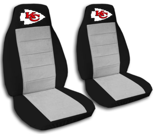 2 Black and Silver Kansas City seat covers for a 2007 to 2012 Chevrolet Silverado. Side airbag friendly. by Designcovers
