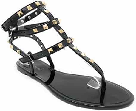 b28928da7a288 Pink Label Women s Gold Studded T-Strap Gladiator Flat Sandal