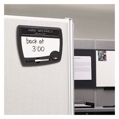 Tack & Write Nameplate, 10 1/2 x 9, Black/White Surface, Black Frame, Sold as 1 Each