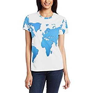 Camiseta de Manga Corta con diseño de mapamundi, para Mujer, Cuello Redondo, cómoda