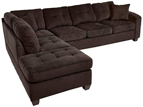 Groovy Homelegance Emilio 110 X 78 Fabric Sectional Sofa Chocolate Uwap Interior Chair Design Uwaporg