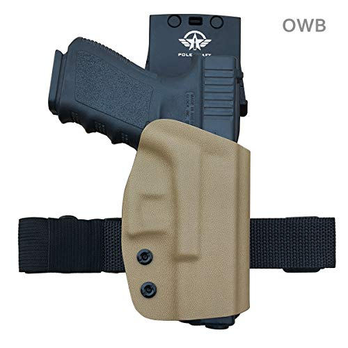 Glock 19 Holster, Kydex OWB Holster For Glock 19 19x / Glock 23 25 32 / Glock 17 22 31 / Glock 26 27 30s (Gen 3 4 5) CZ P10 Pistol Case Waistband Outside Carry 1.5-2 Inch Belt Clip (Tan, Right Hand)
