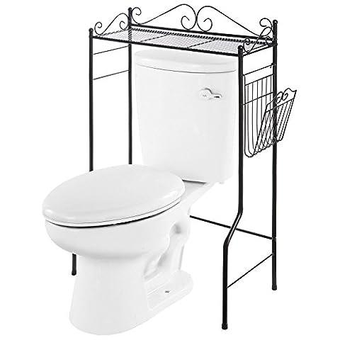 VANRA Bathroom Spacesaver Metal Storage Organizer Rack Freestanding Bathroom Shelf with Magazine Basket (Black, 1 - Above Storage Bed Sets