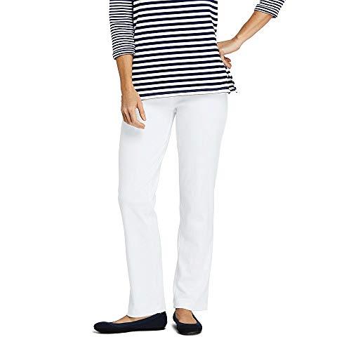(Lands' End Women's Petite Sport Knit Elastic Waist Pants High Rise, L, White)