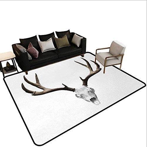 Hall Carpet Antlers,A Deer Skull Skeleton Head Bone Halloween Weathered Hunter Collection,Warm Taupe Light Grey