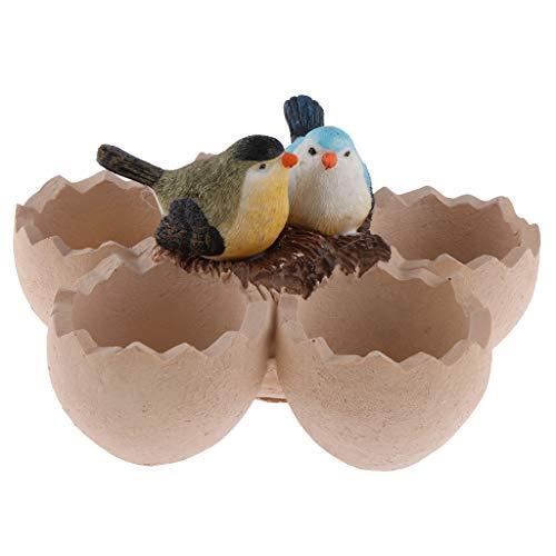B Blesiya Artificial Birds Eggshell Design Flowerpot Animal Resin Succulent Planter Desk Mini Ornament Cute Desktop Mini Ornament by B Blesiya