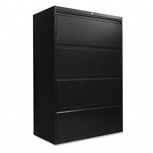 Alera LA543654BL 36 by 19-1/4 by 54-Inch 4-Drawer Lateral File Cabinet, Black