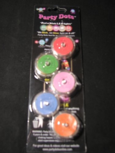 PARTY DOTS - Assorted Peel N Stick LED Light - 5 Pack
