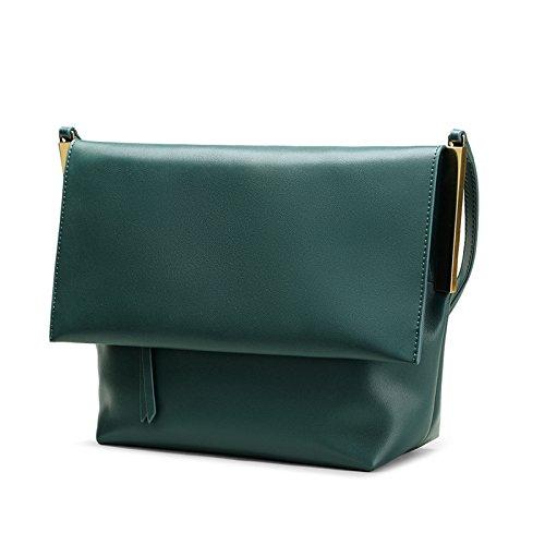 La mujer nueva bolsa de hombro bolsa bandolera de cuero de alta calidad con textura textura al hombro, negro Dark green