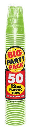 Big Party Pack Kiwi Green Plastic Cups, 12 Oz., 50 Ct.