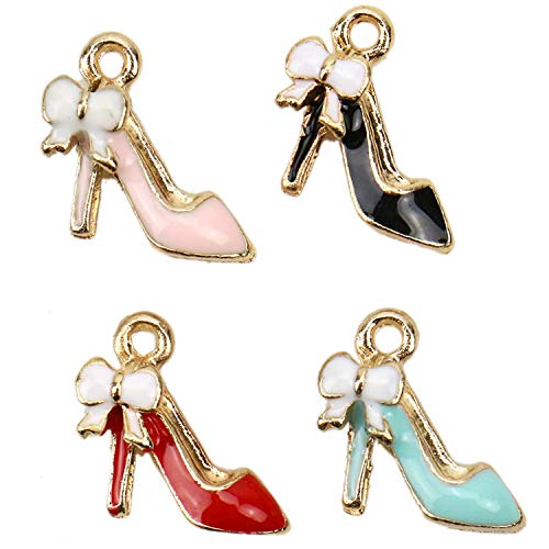 (JETEHO 40 Pcs Enamel High Heel Shoe Bracelet Charms Bulk for Jewelry Making)