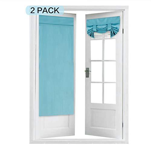 Flamingo P Tricia Window Door Curtains, Aqua Blackout Curtain Rod Pocket, 2 Panels, 26 x 68 Inches ()