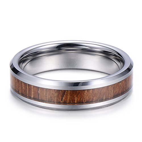 Tiitc Wedding Band Ring Tungsten Carbide Ring Real Koa Wood Inlay Beveled High Polisfed Edge Comfort Fit 6mm (6.5) by tiitc (Image #3)