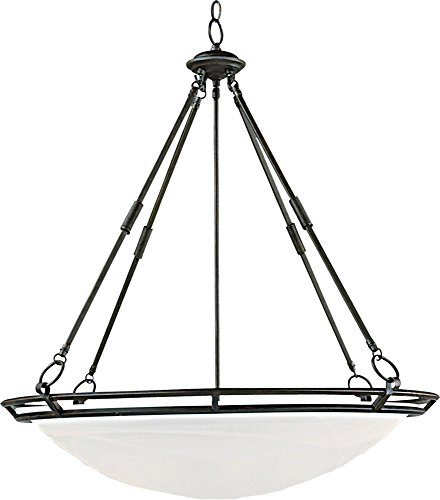 Maxim 2674MRBZ Stratus 6-Light Pendant, Bronze Finish, Marble Glass, MB Incandescent Incandescent Bulb , 60W Max., Dry Safety Rating, Standard Dimmable, Opal Glass Shade Material, Rated Lumens