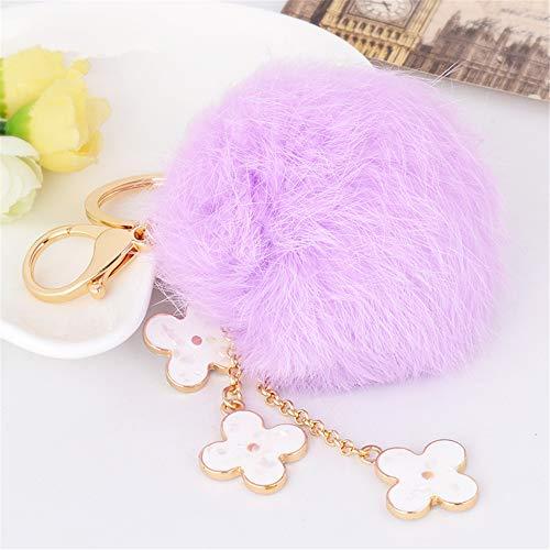 Cute Kawaii Clover Plush Shape Auto Key Ring Hooks Keychain for Women Purse Bag Charms Ornaments (Light ()