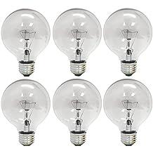 GE Lighting 12980 40-Watt 410-Lumen G25 Globe Light Bulbs, Crystal Clear, 6-Pack