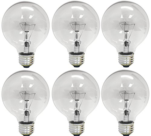 GE Lighting 12980 40-Watt 410-Lumen G25 Globe Light Bulbs, Crystal Clear, 6-Pack Clear Decorative Globe Bulbs