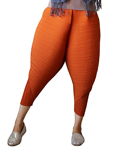 Easy Crepe Pants (Longwu Womens 2017 Fashion Fried Chicken Pants Leggings Oversized Elastic Waist Harem Pants Orange-S)