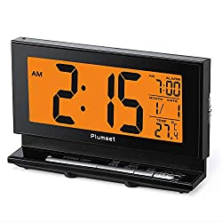 Plumeet [Upgrade Version Digital Alarm Clock, Large LCD Clock with Low High Dimmer Nightlight, Temperature, Calendar, Ascending Sound & Snooze Function, Battery Operated Only (Black)