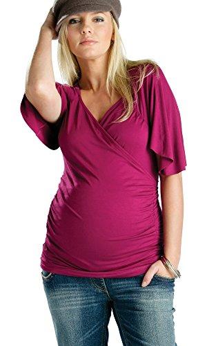 allattamento in amp; Rosso 2 Top per Maglia a 1 maniche maternità gravidanza e corte allattamento per YPPdZq