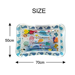 Inflatable Baby Water Mat,Tummy Time Fun Activity Play Center for Infants and Children (50x70cm) (White)
