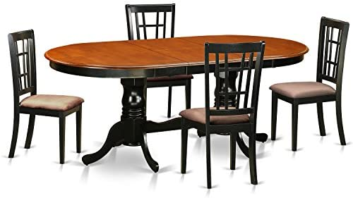 PLNI5-BCH-C 5 PC Dining room set-Dining Table with 4 Wooden Dining Chairs