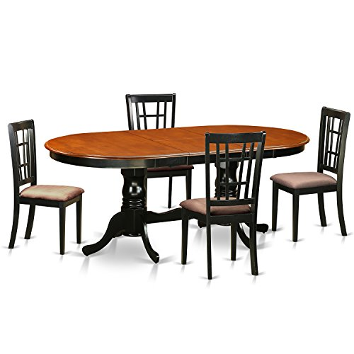 East West Furniture PLNI5-BCH-C 5 Piece Dining Table with 4 Wooden Chairs Set, Black/Cherry Finish