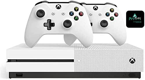 Microsoft Classic Original Xbox One S 1TB HDD with 4K Blu-ray DVD Reader, Two Wireless Controllers White Included,1-Month Game Pass Trial, 14-Day Xbox Live Gold + AllyFlex Sports Cup Mat