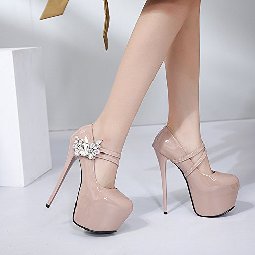 Elegant Lack Klettverschluss Damen Stiletto Heels Plateau Aisun Strass Pumps Aprikosenfarben Kunstleder High Blumen WpcfBq1