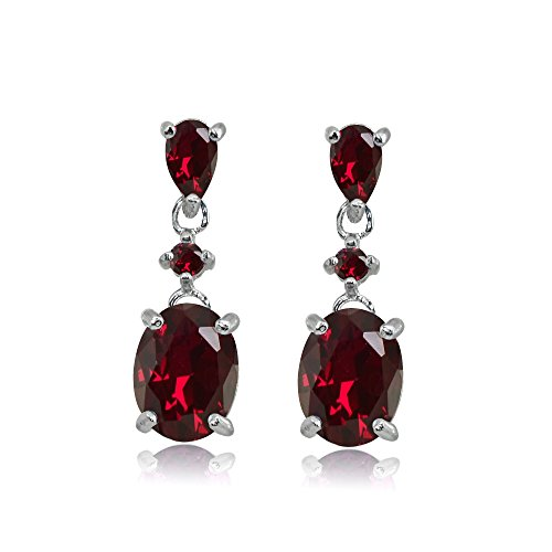 Sterling Silver Created Ruby Oval Three Stone Dangling Stud ()