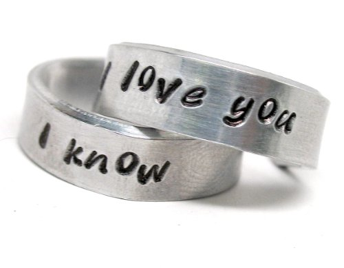 I Love You - I Know, a Pair of Hand Stamped Rings, inspired by Han and Leia ()