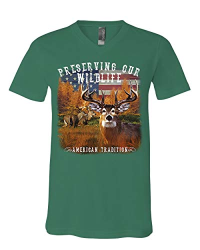 Preserve Wildlife American Tradition V-Neck T-Shirt Deer Buck Patriotic Tee Green 2XL ()