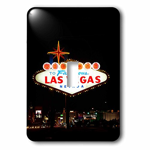 3dRose TDSwhite – Miscellaneous Photography - Travel Vegas Sign Lit Up - Light Switch Covers - single toggle switch (lsp_285369_1) by 3dRose