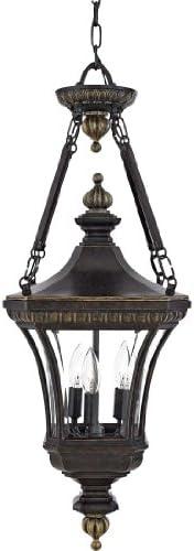 Quoizel DE1490IB Devon Outdoor Lantern Pendant Lighting, 3-Light, 180 Watts, Imperial Bronze 31 H x 11 W