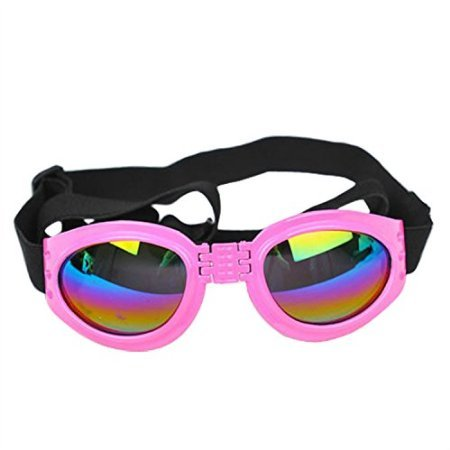 [LOBZON Pet Dog Cat UV Protective Foldable Sunglasses Goggles Lenses Multi-Color Adjustable Strap] (Halloween Goggles)