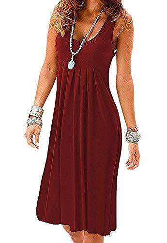 Akihoo Women's Sleeveless Pleated Loose Swing Casual Dress #1-Wine Red Small