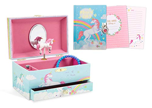 JewelKeeper Rainbow Unicorn Musical Jewelry Box with Pullout Drawer and Matching 300 Double-Sided Page Diary with Lock and Key Gift Set