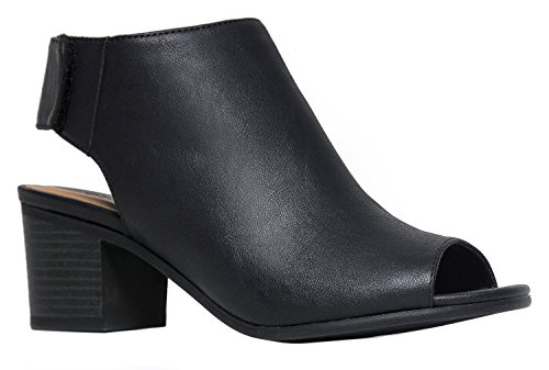 OLIVIA K Women's Peep Toe Bootie - Low Stacked Heel - Ankle Boot Cutout Velcro Enclosure