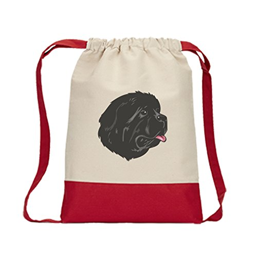 Newfoundland Head - Canvas Backpack Color Drawstring Newfoundland Head By Style In Print | Red